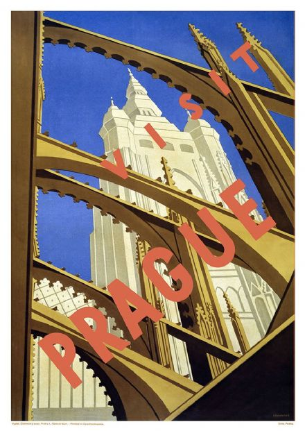 Prague, Czechoslovakia. Vintage Travel Print/Poster. Sizes: A4/A3/A2/A1 (002715)